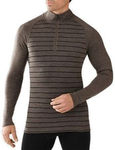 Smartwool Men's NTS Mid 250 Pattern Zip-T Long Underwear Top Taupe Heather/Black XXL