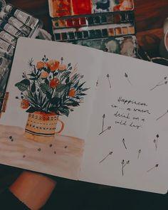"""Tanja von Die Handletterei on Instagram: """"#showmeyourskills > Challenge von @nach.strich.und.farben 😍 #happinessis ... . . . #creativesession #watercolourbook #illustrationart…"""""""
