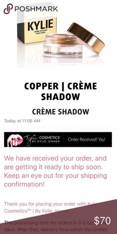 Kylie Jenner copper creme shadow 100% authentic brand new Kylie copper creme shadow. Kylie cosmetics. I have proof of purchase. Will ship it the same day or next day. Sold out. Infused with real gold. No trades. Kylie Cosmetics Makeup Eyeshadow