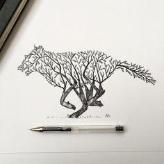 Nature Wolf. (Black Pen)