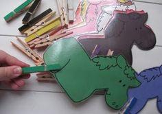 Little Gene Green Bean: Close Pin Horses Toddler Color Learning, Toddler Fine Motor Activities, Learning Colors, Kids Learning, Classroom Fun, Classroom Activities, Preschool Tables, Preschool Farm, Starting Kindergarten