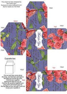 DBlue Colour Sweet Peas Single Cupcake Presentation Box on Craftsuprint - Add To Basket!