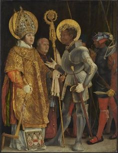 Matthias Grünewald - Saints Erasmus und Maurice (C. 1520/1524). Panel depicting the encounter between St. Maurice, leader of the Theban legion, and St. Erasmus. St. Maurice was the church's patron saint, as well as the patron saint of the Holy Roman Empire; St. Erasmus that of the royal house, from which Albrecht of Brandenburg stemmed. Erasmus is here portrayed with Albrecht's likeness.