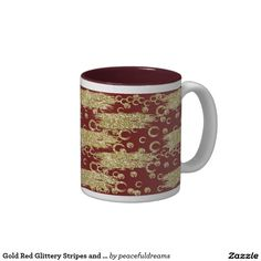 Gold Red Glittery Stripes and Circles Two-Tone Coffee Mug