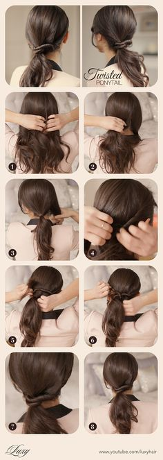Ponytail, twisted ponytail, side ponytail, hairstyle, easy hair, beautiful hair, hair tutorial