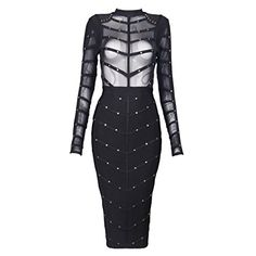 iFashion Womens Rayon Mesh Rivets Studded Long Sleeve See Through Bodycon Club Dress Black L ** See this great product.