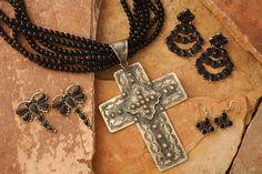 """Rocki Gormon: Earrings, Pendant and Necklace - Dragonfly earrings: $289- Silver cross pendant: $359 - Onyx beads 5-strand 35""""-39"""" adj: $459- Onyx chandelier earrings: $259  - Onyx dangle earrings: $99"""