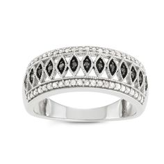 Journee Collection Sterling Silver 3/5 CT TDW Black and Diamond Round Pave Band, Women's