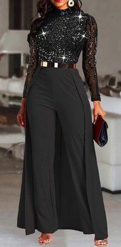 Rompers Women, Jumpsuits For Women, Pantalon Large, Dress Vestidos, Long Jumpsuits, Look Fashion, Latest Fashion, Club Fashion, Fashion Today