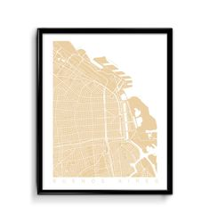 Buenos Aires Print Art / Buenos Aires Map Art / Argentina Poster Wall Art / Line Art / Choose Size and Color