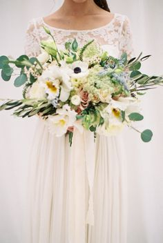Bouquet with Anemones and Greenery | photography by http://jamieraephoto.com
