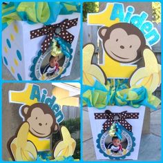 Boy Mod Monkey Centerpiece by OohLalaCreation on Etsy