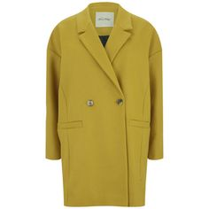 American Vintage Women's Grayson Tailored Collar Bowl Coat - Nugget (262,270 KRW) ❤ liked on Polyvore featuring outerwear, coats, jackets, yellow, american vintage, collar coat, double-breasted coat, tailored coat ve oversized coat