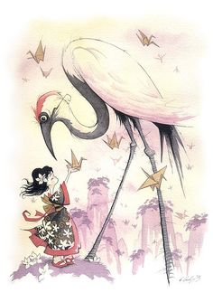 Sadako and the Thousand Paper Cranes. Original Illustration by Gris Grimly-- check out the rest of his work.