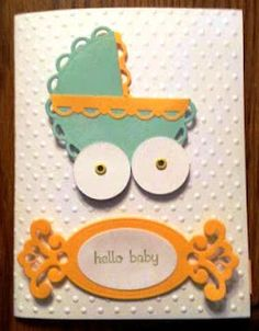 Baby Bassinet card using Spellbinder's scallop lacy die