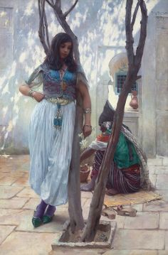 Ferdinand Max Bredt A Courtyard in Tunis Germany (c. 1890s) Oil on Canvas, 78 x 118 cm.