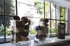 Fall decoration window sill glass container