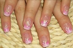 faded pink tips with white flowers.