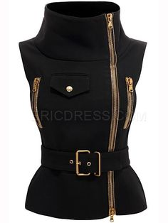 Ericdress Oblique Zipper Sleeveless Jacket Jackets
