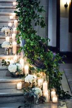 decoration mariage pas cher, comment decorer l escalier decorations deko dresses fotoshooting hair ideas ideen Wedding Stairs, Wedding Reception Entrance, Wedding Ceremony, Wedding Day, Vintage Wedding Cupcakes, Wedding Room Decorations, Wedding Staircase Decoration, Geometric Wedding, Beautiful Candles