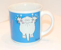 vntg Hang In There cat hanging claw wall blue Sandra Boynton coffee mug tea cup