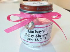 Hand poured candle in baby food jar. Great favors for baby showers.