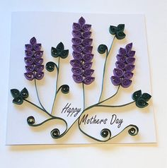 Mother's Day card, lavender flowers, cards for her, Mother's Day, floral cards, 3D art, paper quilled card, paper quilled art, paper flowers