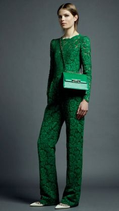 Valentino Resort 2013: Green lace jumpsuit.
