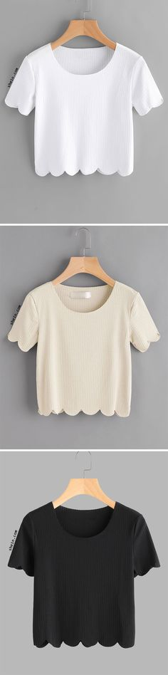 Scallop Trim Ribbed Crop Tee
