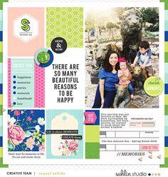 Beautiful layout for Raquel Project Life using Create Journal Cards and Kit and FREE Digital Scrapbooking Template / Sketch – July 2016