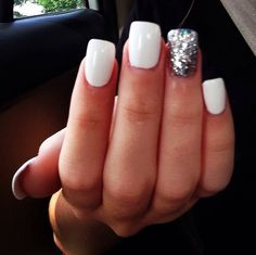 white nails with silver sparkles