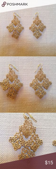 Anthropologie Gold Lace Earrings Beautiful intricate gold lace floral earrings from Anthropologie Anthropologie Jewelry Earrings