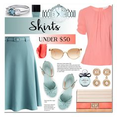 """Skirts Under $50 (A-line skirt+Wedge sandals)"" by anyasdesigns ❤ liked on Polyvore featuring Chicwish, Altuzarra, Melie Bianco, Linda Farrow, Chanel, Movado, Butter London, Urban Decay, Kate Spade and under50"