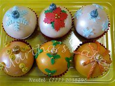 Cupcakes esferas navideñas