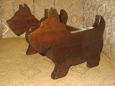 Vintage SCOTTISH Terriers Scotty DOG Pine Wood Holder BOX Folk Art Hand-Made