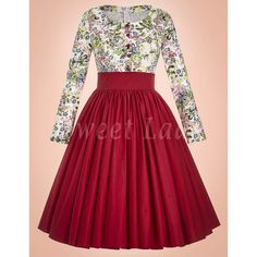 Vintage šaty s áčkovou červenou sukňou