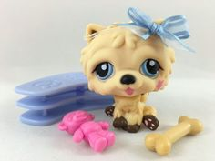 Littlest Pet Shop Cream & Brown Chow Chow Dog #662 w/Blue Eyes & Accessories #Hasbro:
