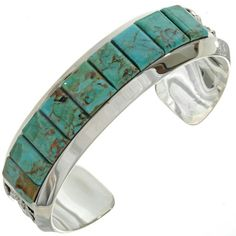 Navajo made, Inlaid Turquoise Mens Cuff features gorgeous Kingman slabs fitted in a stone to stone pattern in heavy gauge Sterling. A very masculine look! Kingman Turquoise, Green Turquoise, Turquoise Jewelry, Turquoise Bracelet, Thing 1, Gauges, Navajo, Mens Fashion, Native American