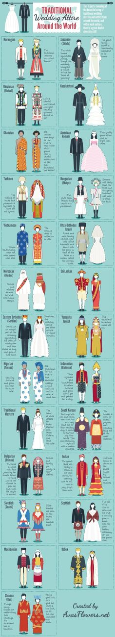 Traditional Attire Around the World - cultures, ethnic wedding attire, traditional wedding dresses traditional wedding Traditional Wedding Attire, Traditional Fashion, Traditional Dresses, Traditional Weddings, Historical Costume, Historical Clothing, Illustration Mode, Professional Wardrobe, Business Professional
