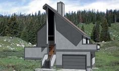 House Plan 94305 | Contemporary Plan with 1025 Sq. Ft., 2 Bedrooms, 2 Bathrooms, 1 Car Garage