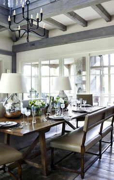 "So many beautiful details in this dining room"" I love the gray beams, the silver lamps (and the fact that they put it on the dining table) and the overall feel in this space."