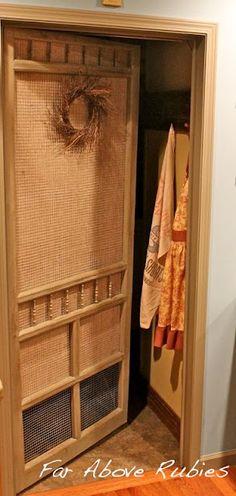"Old screen door for laundry room door!  Far Above Rubies...one of my ""Favorite"" blogs!"