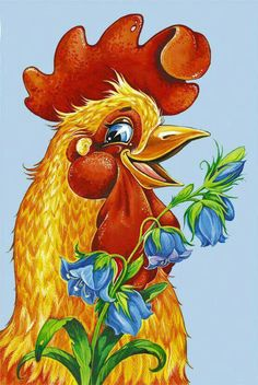 roosters, chickens, the year 2017 is a symbol, Rooster Painting, Rooster Art, Chicken Crafts, Chicken Art, Chicken Tattoo, Watercolor Animals, Watercolor Art, Chicken Pictures, Chicken Painting