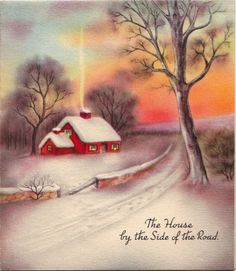 Vintage Greeting Card Christmas Landscape Snow House Winter O992