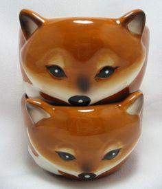 Sly Fox Bowls Ice Cream Dessert Ramekin Dishes Set of 2 Ceramic 3-D Figural 8 oz #Unbranded