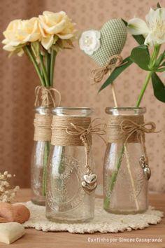 Dekorasyon Diy Bottle, Wine Bottle Crafts, Bottle Art, Pot Mason Diy, Mason Jar Crafts, Mason Jars, Home Crafts, Diy And Crafts, Burlap Crafts