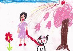 ■■■平第五小学校/2年生/女の子■■■ 【作品タイトル】うさんぽ【伝えたい事】大好きなうさぎとお散歩しているところ