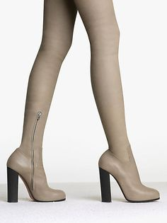Thigh High Boot Rider in Calfskin Taupe- Celine