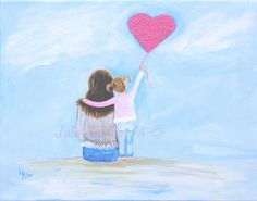 Mother Daughter Child Painting SALE Mother Little Girl Sister