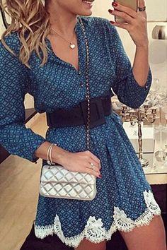 Blue Geometric Print Lace Spliced V-neck Long Sleeve Casual Fashion Mini Dress